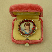 An 18K Enamel Portrait Miniature Of A Young Woman Set With Diamonds