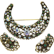 Unsigned FLORENZA Large Crescent Moon Brooch Earrings Set AB Rhinestones