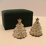 SALE Boxed Silver Treasures Christmas Tree Salt & Pepper Shaker Set by Godinger Silver Art Co