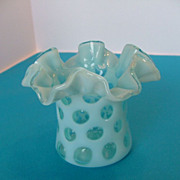 SALE Vintage Light Blue Glass Ruffled Edged Vase