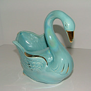 SALE Vintage McCoy Blue Swan Vase Planter USA #281