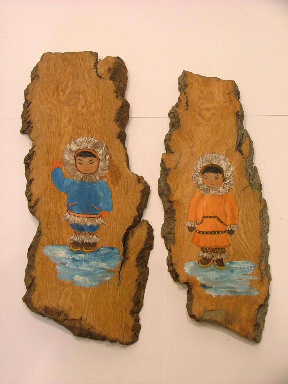 Oil Paintings on Alaska Cottonwood Bark by Jane Wilk &ndash; Eskimo Seen &ndash; 7 Pieces
