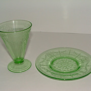SALE Green Depression Glass Tumbler & Saucer  - 1931 Rose Cameo Pattern