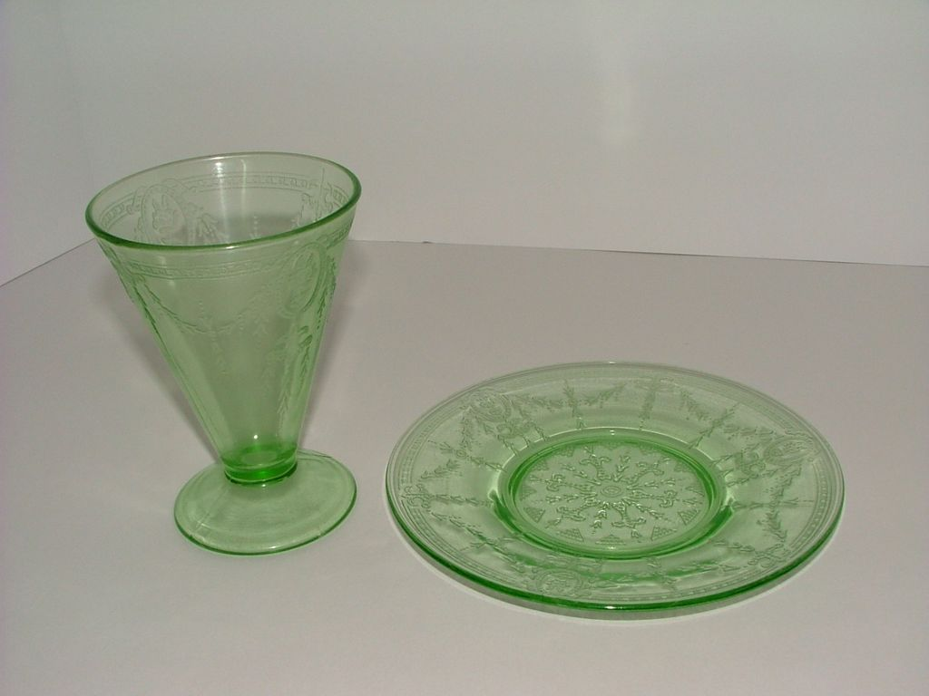 Green Depression Glass Tumbler & Saucer  - 1931 Rose Cameo Pattern