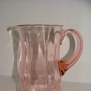 SALE Elegant Pink Depression Glass Water Pitcher - 1930's - 1940's