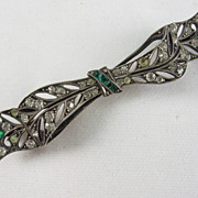 Vintage Silver and Paste Bow Brooch