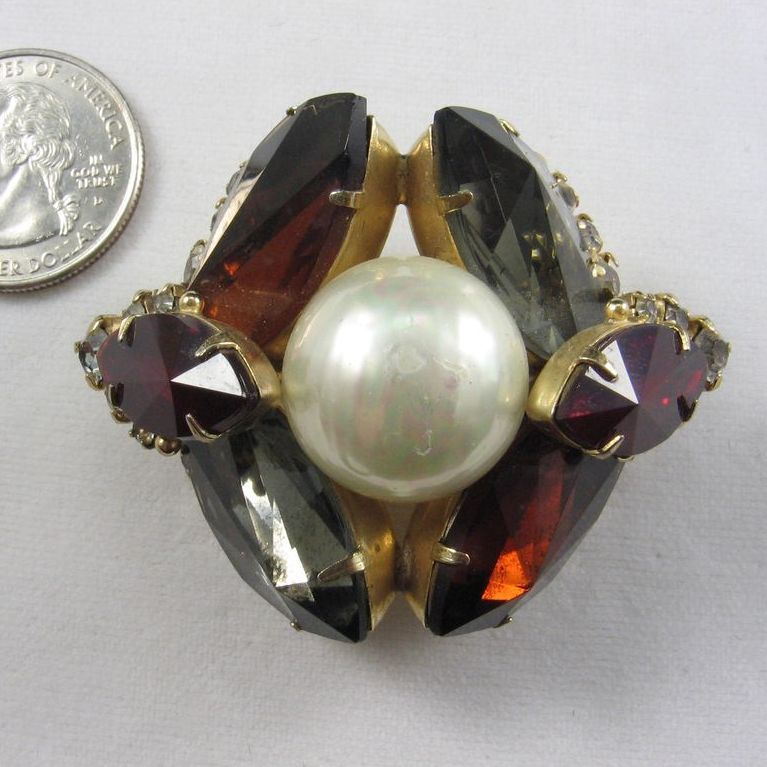 Monumental Vogue Rhinestone and Faux Pearl Brooch