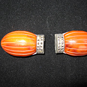 Pair of Bakelite and Marcasite Ornaments in Form of Stylized Scarabs