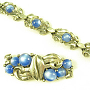 Rare Blue Moonstone Coro Duette and Bracelet Set