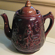 Antique Rebecca at the Well Bennington Rockingham Glazed Teapot