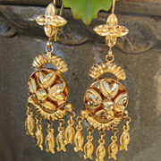 Striking Victorian 22K Yellow Gold Drop Earrings