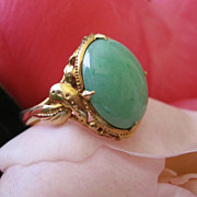 Edwardian Cabochon Jadeite 18 Karat Yellow Gold Ring