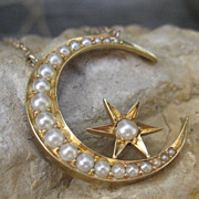 Victorian Moon & Star Seed Pearl Pendant 14k Necklace