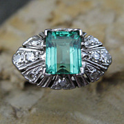 Emerald City Deco Diamond Platinum Ring