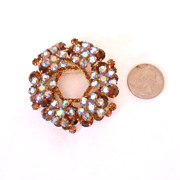 DeLizza & Elster D&E Large Layered Rhinestone Brooch/Pin