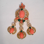 D&E DeLizza & Elster Aventurine Cabochon & Rhinestone Filigree Dangle Brooch/Pin Or Pendant