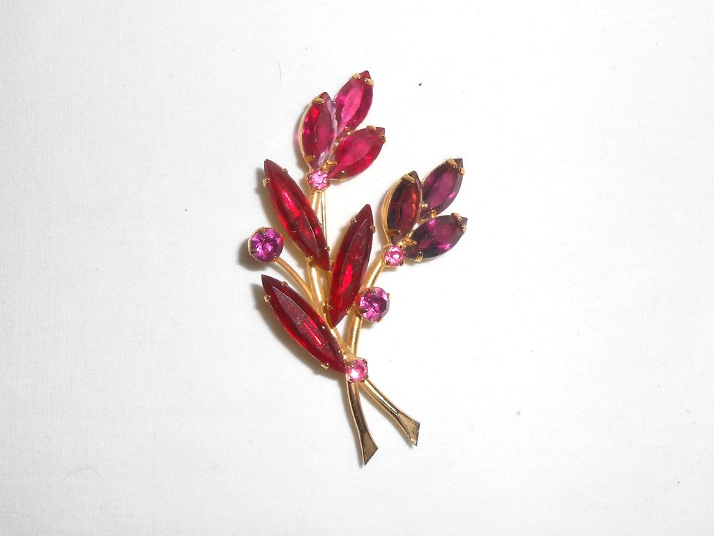 Vintage Pink Purple & Red Rhinestone Floral Brooch/Pin