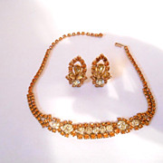 Vintage Citrine & Amber Color Rhinestone Necklace & Clip Back Earrings