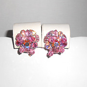 Vintage Weiss Pink Rhinestone & Dangling Crystal Clip Back Earrings