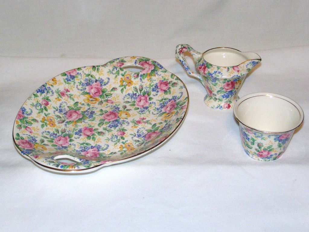 Vintage James Kent Rosalynde Chintz Creamer Open Sugar & Luncheon Tray