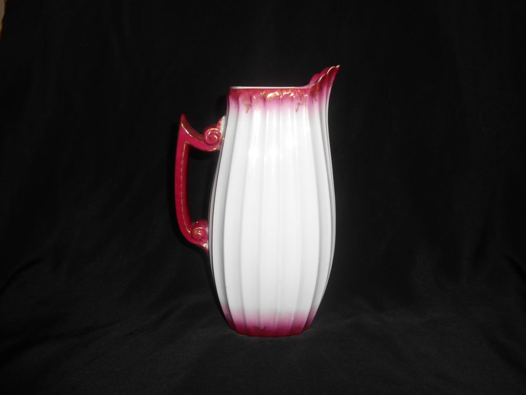 Tressemanes and Vogt T&C Limoges Pink Band & Gold Gild Limoges Pitcher Ca 1907-1919