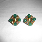 Hobe Jade & Aurora Borealis Rhinestone Vintage Clip Back Earrings