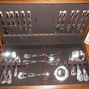 ARG 800 Italian Kings Pattern Silverplate Flatware In Box 48 Pieces