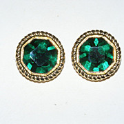 Authentic Signed Swarovski Green Crystal Clip Back Earrings