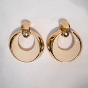 St. John Large Enamel Door Knocker Clip Back Earrings
