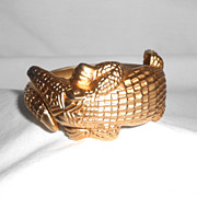 Satin Finish Alligator Figural Heavy Hinged Clamper Bracelet