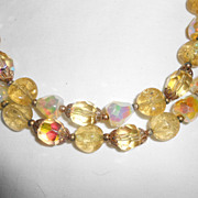 Trifari Poured Yellow Glass Double Strand Necklace