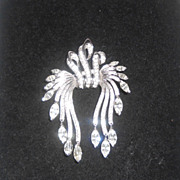 Pennino Sterling Silver Clear Rhinestone Dangle Brooch Pin Pendant