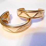 Givenchy Huge Enamel Half Hoop Clip Back Earrings Statement Circa 1980's