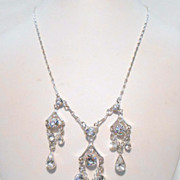 Signed Givenchy Clear Rhinestone Drop Necklace