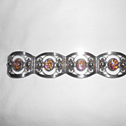 R.J.R. Mexico Sterling Silver & Opal Glass With Dragon's Breath Effect Bracelet