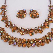 Signed ART Parure Set Vintage Necklace Bracelet & Earrings Rhinestones Cabochons