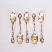 Gorham Sterling Silver MONTCLAIR Set Of 5 Teaspoons Five O'Clock Circa 1910 Mono