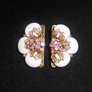 Original By Robert Pale Pink Milk Glass & Rhinestone Vintage Clip Back Earrings