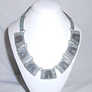 Mexico Taxco Sterling Silver & Crushed Turquoise Cleopatra Necklace Eagle 1 Signed R.S. 925