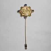 Doris Panos 18K Gold Diamond & Sapphire Cabochon Stick Pin Dated 1993