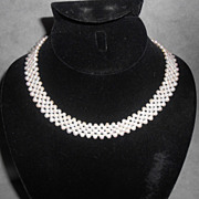 Vintage Cultured Pearl Collar Necklace With 14K Gold Clasp STUNNING!