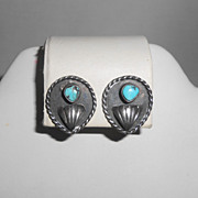 J. Claw Navajo Sterling Silver & Turquoise Clip Back Earrings