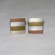 1950's Vintage ESTELA POPOWSKI Mixed Metal Cufflinks/Cuff Links