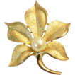 Buttery Gold Tone Satin TEXTURIZED TRIFARI  Leaf Brooch Pin