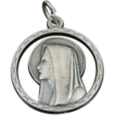 Lovely Italian Vintage Virgin Mary Double Sided Pendant or Medal Larger in Size Silver over Copper