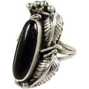 SALE Vintage Sterling & ONYX Navajo Ring Signed ETSITTY - Wonderful Craftsmanship!