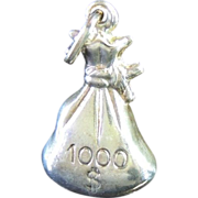 MONEY Bag  Pendant or Charm - Sterling 925 - c1980 - New Old Stock - VINTAGE Fun!!