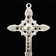 EXQUISITE c1930s Uncas Sterling & MARCASITE Ornate Religious CROSS Pendant