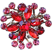 BIG Bold Ruby RED and PINK Floral Fan Rhinestone BROOCH 2""