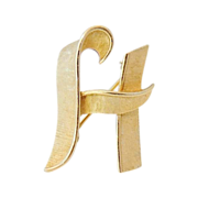 Vintage CROWN TRIFARI Monogram H Letter H Brooch - For You or a Friend :)